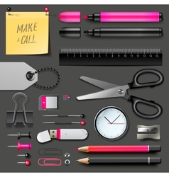 Set of office supplies vector