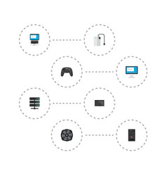 set of pc icons flat style symbols with server vector image
