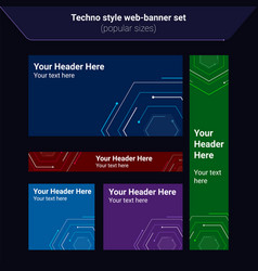 set web banners in techno electric style vector image