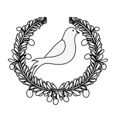 Silhouette arch of leaves with pigeon with olive vector