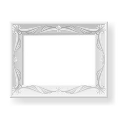 silver picture frame on white background for vector image vector image