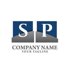 Sp white letter logo design with blue square vector
