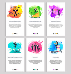 Teamwork and overcoming obstacles business set vector