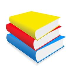Three multicoloured books lay on a white backgroun vector