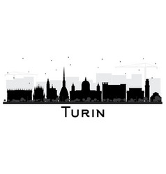 Turin italy city skyline silhouette with black vector