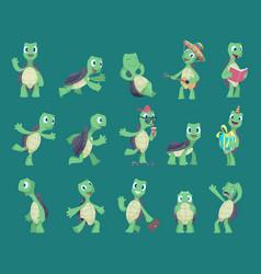 Turtles cartoon comic reptile funny characters vector