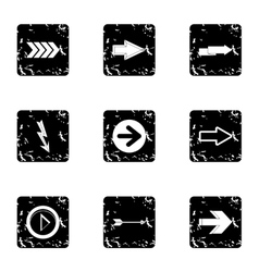 Types of arrows icons set grunge style vector image