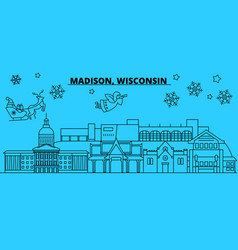United states madison winter holidays skyline vector