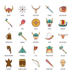 viking icons set cartoon style vector image