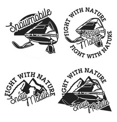 vintage snowmobile emblems vector image