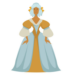 woman in ball gown and wig with bows baroque vector image