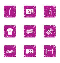 World advertising icons set grunge style vector