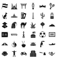 world tour icons set simple style vector image