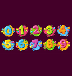 colored cartoon numbers vector image