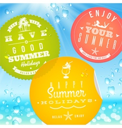 Stickers with summer vacation and travel emblems vector image vector image