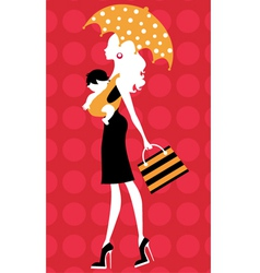 Chick silhouette mom with umbrella and kid vector image vector image