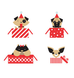 christmas dogs vector image vector image