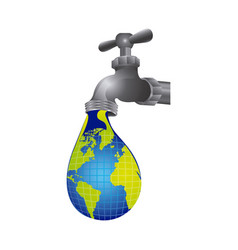 faucet with water drop of planet icon vector image
