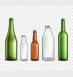 Glass bottles transparent vector