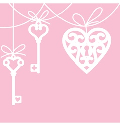 Heart and skeleton key vector