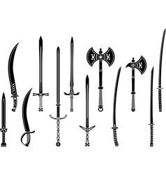 set of stencils of fantasy swords and axes vector image vector image