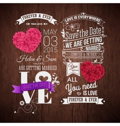 Wooden background typography design and decorative vector image vector image