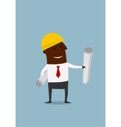 Cartoon engineer or builder with blueprints vector image