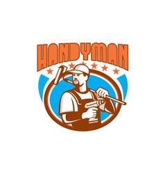 Handyman Cordless Drill Paint Roller Oval Retro vector image