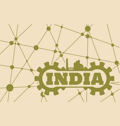 India word build in gear vector
