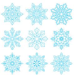 set four blue snowflakes vector image