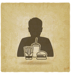 teenager boy with fast food vintage background vector image