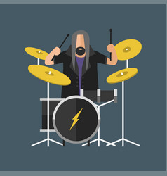 cartoon musician play on sound modern drum and vector image vector image