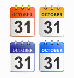 halloween on page of calendar in different vector image
