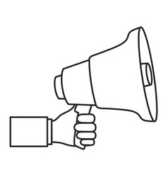 monochrome silhouette of hand holding megaphone vector image vector image