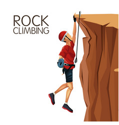 scene man hanging on the cliff anchored to the top vector image