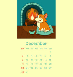 2018 december calendar with welsh corgi dog vector image