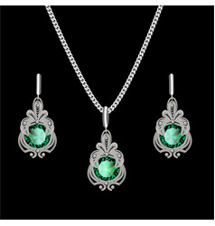 a filigree silver jewelry set pendant on a chain vector image