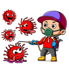 A man wearing mask spray to cleaning corona virus vector