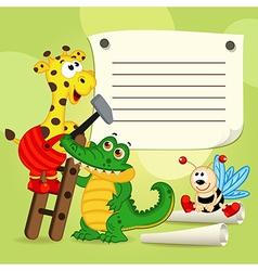 Animals sheet of paper vector