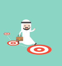 Arab saudi businessman jumping follow the target vector