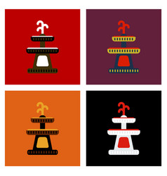 Assembly flat icons halloween fountain vector