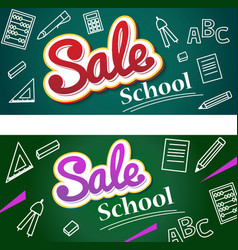 Banner back to school sale flyer and vector