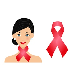 Beautiful woman with aids ribbon vector image
