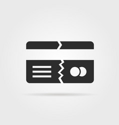 Black broken credit card with shadow vector