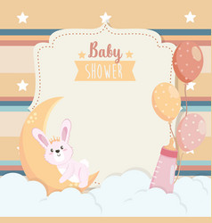 Card cute rabbit with moon and feeding bottle vector