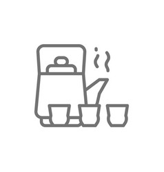 chinese tea ceremony kettle and cups line icon vector image