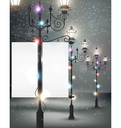 Christmas background with streetlight vector