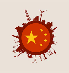 Circle with industry relative silhouettes china vector
