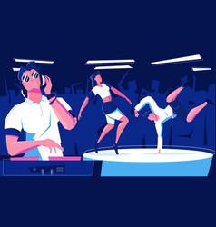 Club dj dancing composition vector