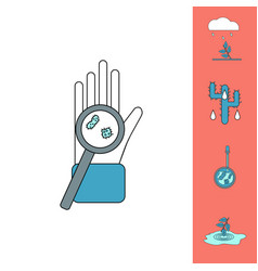 Collection of icons and spread of infection vector